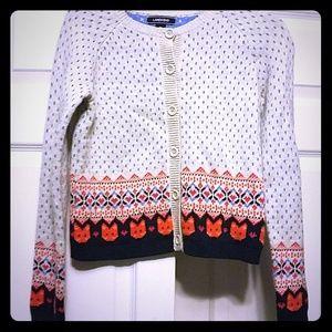 girls Lands End fox sweater